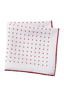 J. Crew Pocket Square Handkerchief 100% SILK Tipped Red Dot MADE IN ITALY _R16A1