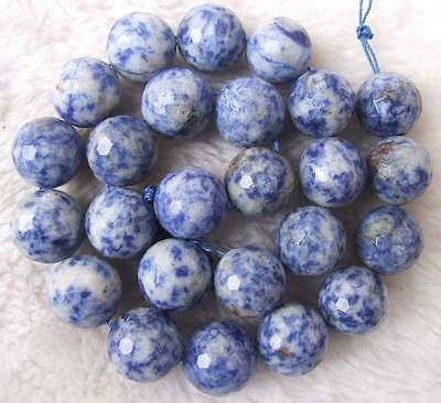 """16mm Natural Blue Spot Jasper Faceted Round Loose Beads Stone 15.5 """""""