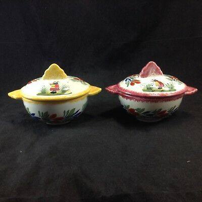 2 Henriot Quimper France Hand Painted Figural Woman Onion Soup Bowls Covered