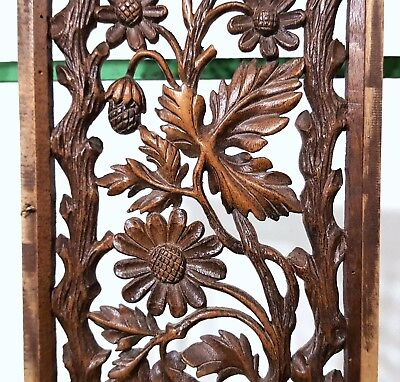 Paradise Lace Panel Antique French Hand Carved Wood Flower Carving Sculpture 4