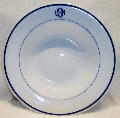 "WW II U.S.Navy ""USN"" 9"" Soup Bowl Stirling China Ohio Officers Mess NICE!"