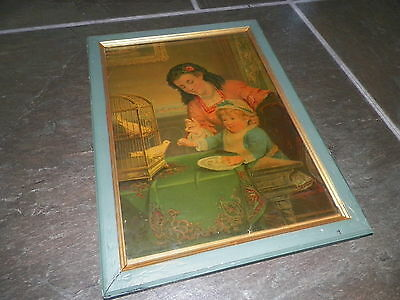 Gorgeous Old Antique Vintage Print Wood Framed Household Pets George Stinson