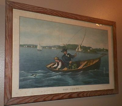 Gorgeous Old Vintage Antique Print Bass Fishing Currier & Ives Framed