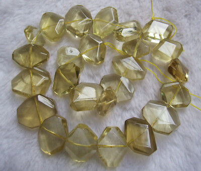 """16x22mm Natural Citrine Faceted Freeform Loose Beads 15.5"""""""