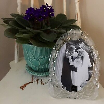 Mikasa Princess Crystal Oval Wedding Picture Photo Frame Frosted Clear Glass NEW