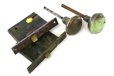 """Set of 2 Vintage Brass Door Lock Assembly With Two 2.25"""" Metal Knobs"""
