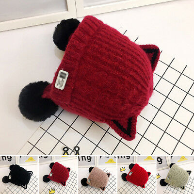 Cat Ears Hairball Infant Knitting Cartoon Warm Beanie Baby Hat Winter