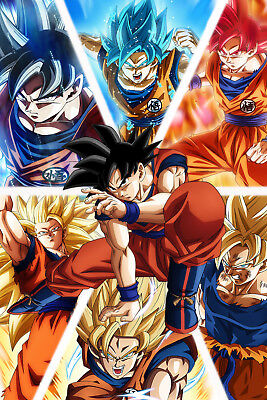 Dragon Ball Super Goku Blue Super Saiyan God 12in x 18in Poster Free Shipping