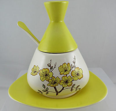 Carlton Ware Mimosa Yellow & White Preserve Pot, Spoon and stand