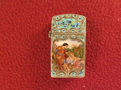 Extremley rare antique silver with double sided enamaled lighter  Erotica scene