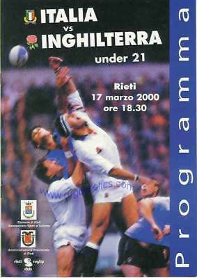 ITALY v ENGLAND UNDER 21 2000 RUGBY PROGRAMME
