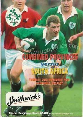 COMBINED PROVINCES OF IRELAND v SOUTH AFRICA 29 Nov 1994 RUGBY TOUR PROGRAMME