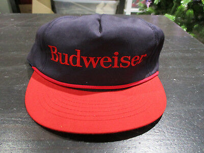 NEW VINTAGE Budweiser Beer Snap Back Hat Cap Blue Red Spell Out Bud Mens 90s
