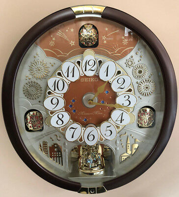 NEW Seiko 24 Melodies in Motion 2017 Musical Wall Clock w. Swarvski Crystals