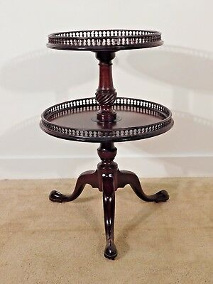 ANTIQUE Early Victorian Queen Anne Mahogany Two Tier Dumbwaiter Lazy Susan Table