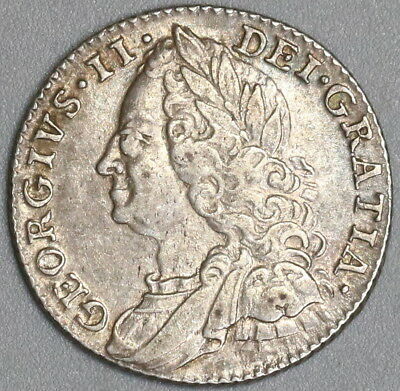 1758 GEORGE II Silver 6 Pence GREAT BRITAIN Coin (17121501S)
