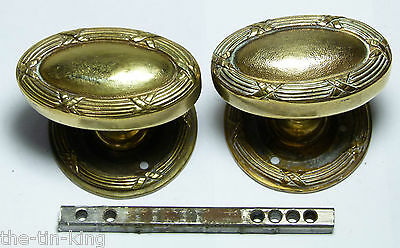 Pair Quality Heavy Antique Brass Oval Regency Style Door Handles Knobs&backplate