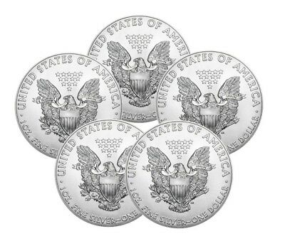 (5) Back Date between 2002 - 2017 1oz American Silver Eagles (bse)
