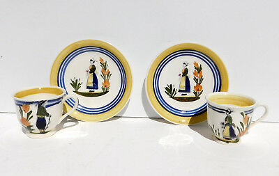 WL Colonial Faience Pottery Pair Demitasse Cups Saucers Lady & Man Quimper-Style