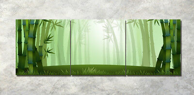 "Art Printed Painting on Canvas 3Parts Home Wall Decor bamboo forest 16x16"" 1395"