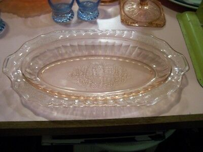 "Mayfair Open Rose 10"" pink celery dish"