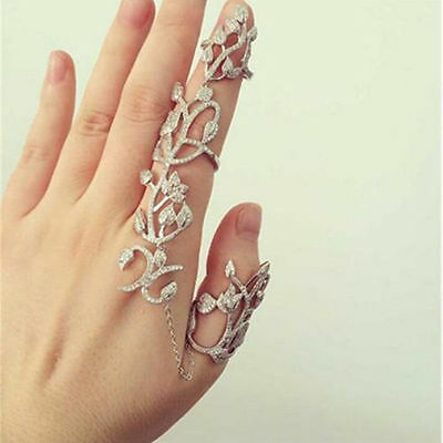 Knuckle Gold Silver Full Finger Fashion Punk Rock Gothic Double Armor Ring new