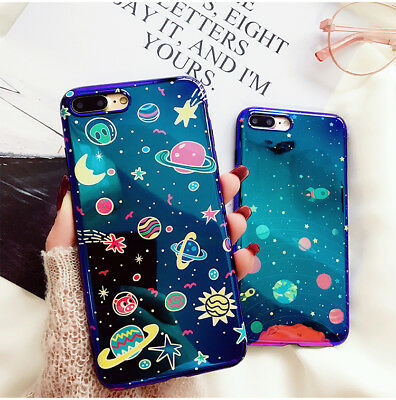For iPhone X 6 6S 7 8 Plus Cartoon Universe Series Blu-Ray Star Moon Phone Case