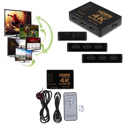 3D 5-Port HDMI Switcher Switch Selector Splitter Hub iR Remote For HDTV 1080p 4K