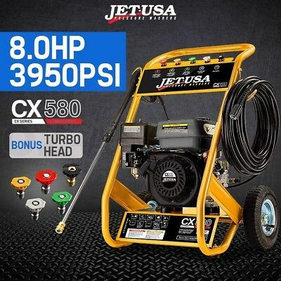Jet-USA 8 HP 3950 PSI Petrol High Pressure Washer Gurney Pump Hose Turbo Cleaner