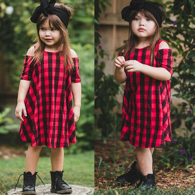 Baby Girls Tartan Dresses Knee-Length Off Shoulder Cotton Casual Pageant Party