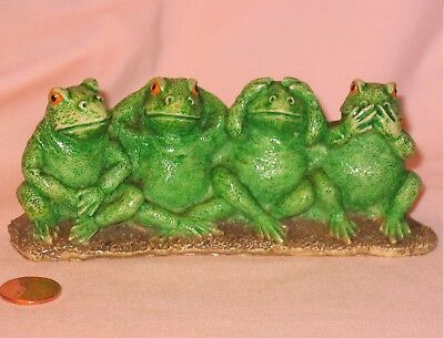 Do, See, Hear And Speak No Evil Four Frogs Resin Figure