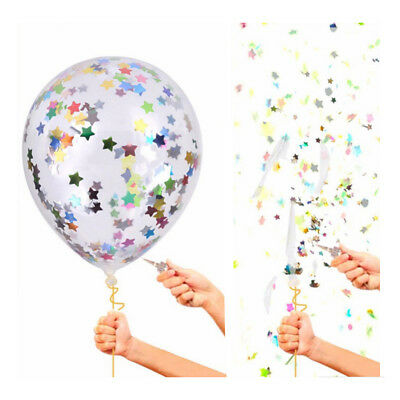 5Pcs 12inch Multicolor Stars Filled Confetti Balloons Latex Party Wedding Decor