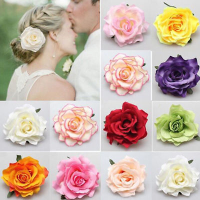 Headdress Hair Accessories For Bridal Wedding Flocking Cloth Red Rose Flower