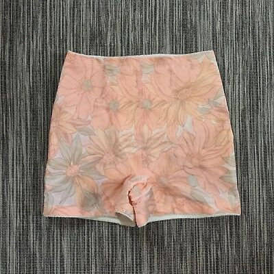 Vintage ST. MICHAEL Britain PEACH Apricot ORANGE Floral GIRDLE Loops for GARTERS