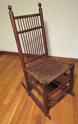 Antique American Rush Seat Rocking Chair Possibly Shaker Birdcage Windsor Style