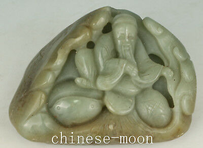 Chinese Natural hetian Jade Handmade Carved Sage Study Statue Figure Ornament