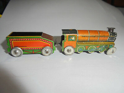 28381  Penny Toy Lok mit Tender 10cm made in Germany locomotive tin