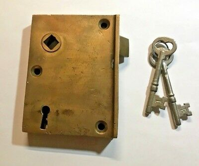 Antique,vintage,solid brass,rim,door,lock,skeleton,keys,reversible,old,entrance
