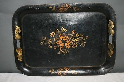 Antique Tole Tray Gold Floral Stencil on Black Muted Victorian Sideboard 26x19