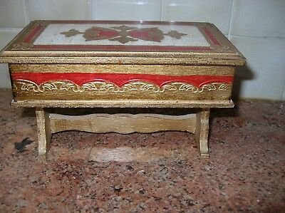 Vintage Italian Florentine Tole Jewelry Music Box Desk Shape Gold Red Embossed