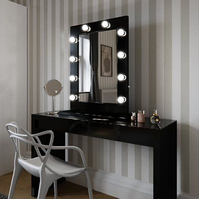 Hollywood Mirror Black Gloss Illuminated Modern Dressing Table Mirror 80 x 60