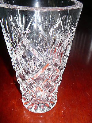 Vintage Cut Glass Vase Thick Heavy American Brilliant One Of A Kind
