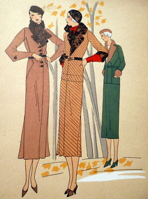 RARE 1930s Art Deco Pochoir Fashion Clothing Hand Painted Print COATS