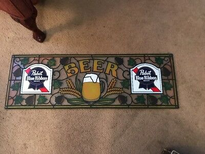 Vintage PABST BLUE RIBBON BEER SIGN 1983 Faux Stained Glass Plastic  PBR BAR PUB