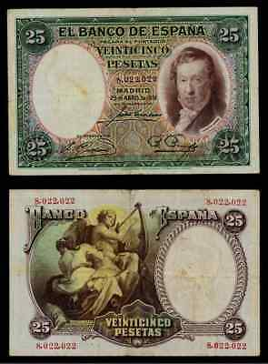 Currency 1931 Spain 25 Pesetas Banknote Republic Issue Vicente Lopez Portana P81