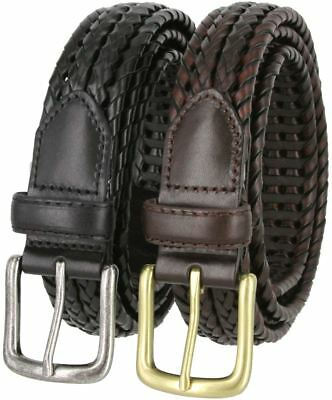 "Woven Double Braided Genuine Leather Casual Dress Belt 1-1/8"" Wide Black Brown"