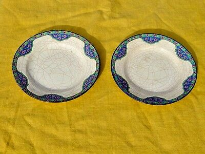 Pair Of French Longwy Enamel Pottery Plates, Impressed Marks, Fine Detailing
