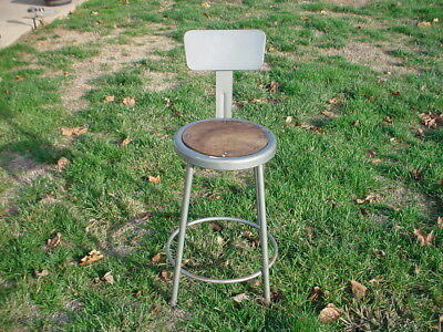 Vintage Industrial Metal Shop Stool Machine Age Drafting Chair Steampunk