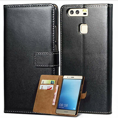 Luxury Genuine Leather Wallet Card Slots Phone Bag Case Cover For Huawei P10 P9