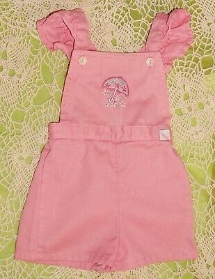 Vintage 1970s Garanimals Pink Romper with Ruffled Straps & Embroidery Size 12 mo